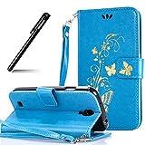 Galaxy S4 Hülle,BtDuck PU Leder Gold Schmetterling Ultra Slim Tasche Brieftasche Dünn Weich Tasche Magnetverschluss Kartenfach Weich Silikon Back Cover Handyhülle Samsung Galaxy S4 Blau