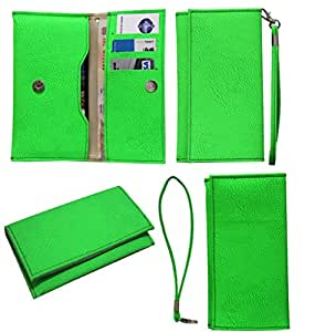 Jo Jo A5 G8 Leather Wallet Universal Pouch Cover Case For Karbonn Smart A12 Star Light Green