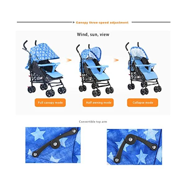 JIAX Foldable Baby Stroller,Travel System with Baby Basket Anti- Newborn Baby Pushchair Adjustable High View Pram Travel System Infant Carriage Pushchair (Color : Blue) JIAX ✤FUNCTION: The stroller can be used as a bed for babies aged 0-6 months. In addition, it can be replaced with a seat suitable for children aged 7-36 months. ✤GLOWING POINT: Only one step for braking or releasing the stroller, firm, wear-resistant, comfortable cushion, sitting mode, half-lay mode, flat-lay mode ✤MORE FEATURES: high enough to protect your baby from dust, can be paired with a dining table like a chair, and the canopy can be adjusted according to the weather 4
