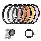 D & F 58 mm Professionale Filtro Kit di Fotografia Subacquea Custodia Lens Filter set per GoPro Hero 6/5 con 6 Colori: Rosso, Viola, Grigio, Trasparente, Nero, Giallo