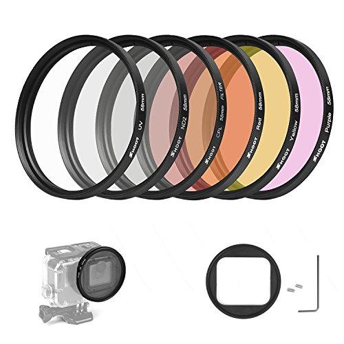 D & F 58 mm Professionelle Fotografie Filter Kit Unterwasser Objektiv-Filter-Set für GoPro Hero 6/5 Gehäuse Fall mit 6 Farben Rot, Lila, Grau, Transparent, Schwarz, Gelb