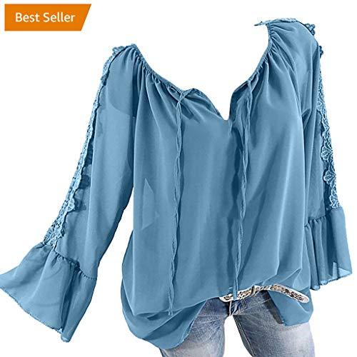 TOPSELD Top Damen, Frauen Weg Schulter Verband Spitze Chiffon Lange ÄRmel Plus Size Leicht Tops Bluse Puff Sleeve Swing