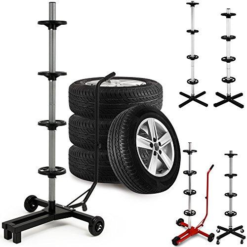 Porta pneumatici Carrello ad albero per conservare ruote complete e pneumatici per auto fino a max. 225 mm di larghezza e max. 66 cm di diametro - Dimensioni carrello: 116 x 53 x 79 cm