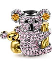 NinaQueen Baby Koala Abalorio de mujer de plata de ley (Serie Casera Feliz)
