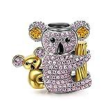 NinaQueen Baby Koala Ciondolo da donna argento sterling 925 per pandora charms bracciale Regalo compleanno natale san valentino festa della mamma Regali anniversario per moglie madre sposa