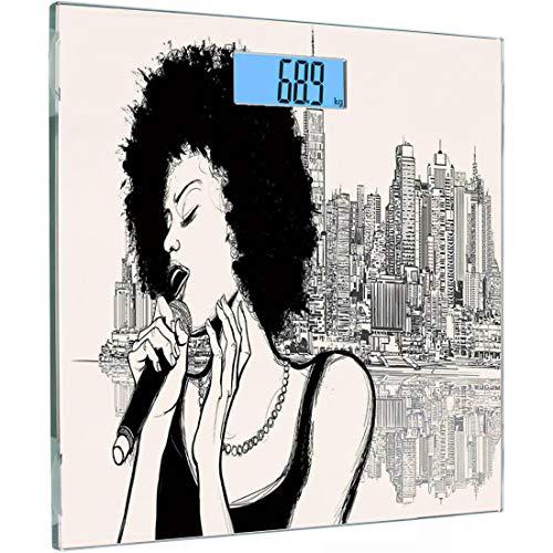 Ultraflache hochpräzise Sensoren Digitale Waage mit Körpergewicht Afro-Dekor Gehärtetes Glas Personenwaage, American Jazz Music Girl, das vor der New Yorker Manhattan-Illustration auftritt, Schwarz-Gr (Ihr Körper American Girl)