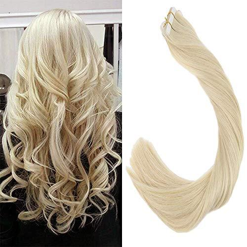 LaaVoo 20Pcs Skin Wefts Echthaar Tape on Extensions 65cm Gebleichtes Blond Haarverlangerung mit Adhesive Band Individuells 50 Gramm/Paket (26 Hair Zoll Extensions Tape In)