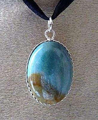 pendentif jaspe polychrome, argent 925