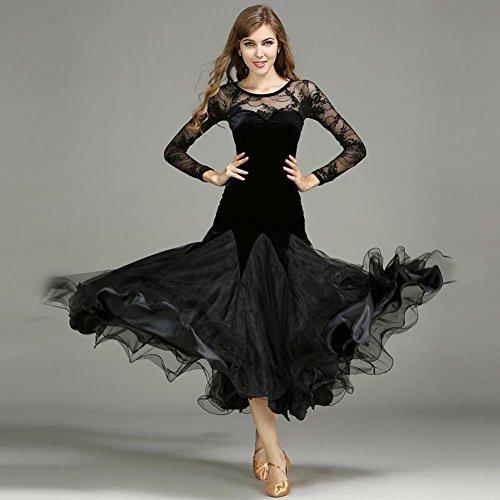 Frauen Performance Schnüren Samt Spleißen Lange Ärmel Ausbildung Tüll Tanzen Kleider , Black , XL