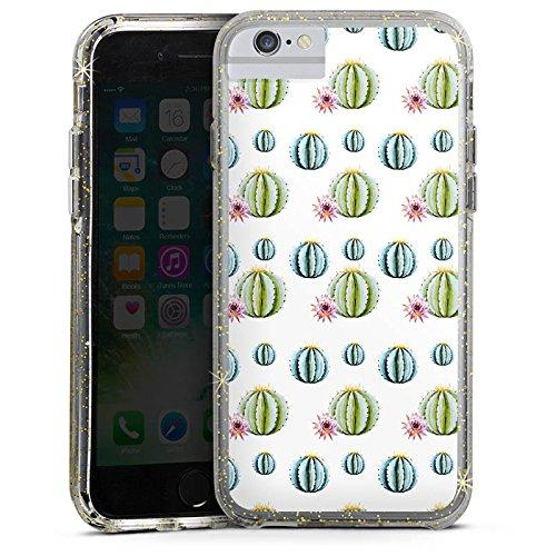 Apple iPhone 7 Bumper Hülle Bumper Case Glitzer Hülle Kakteen Cactus Muster Bumper Case Glitzer gold