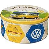 Nostalgic-Art 30601 Volkswagen - VW Bulli - Let's Get Away! | Retro Vorratsdose Rund L | Keks-Dose | Plätzchen-Box | Metall