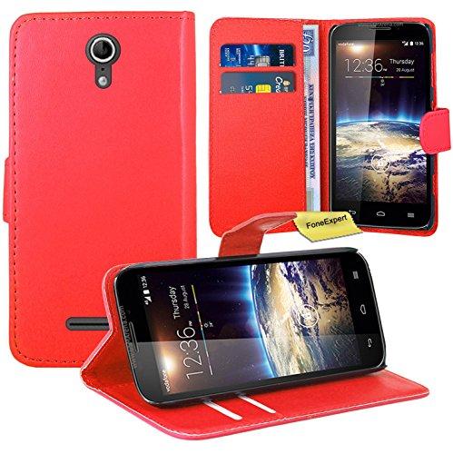 Vodafone Smart 4 Power Handy Tasche, FoneExpert® Wallet Case Flip Cover Hüllen Etui Ledertasche Lederhülle Premium Schutzhülle für Vodafone Smart 4 Power (Rot)
