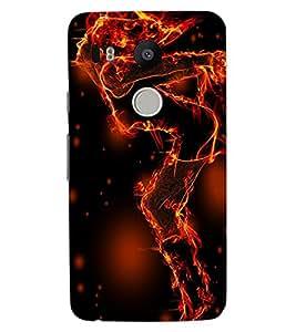 ColourCraft Flaming Girl Design Back Case Cover for LG GOOGLE NEXUS 5X