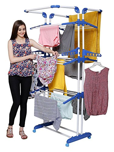 PAffy 3 Layer Cloth Drying Stand(Blue and White)