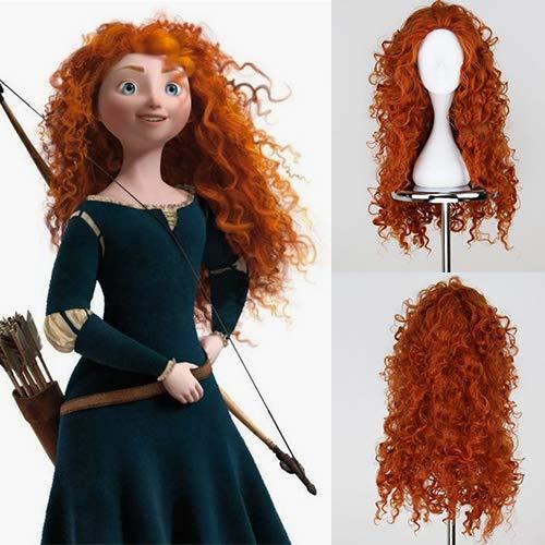 lang, gelockt, Merida Princess, Cosplay, rotes Haar, Kunsthaar, Halloween-Perücke für Mädchen, Party, Shows, hitzebeständige Fasern ()