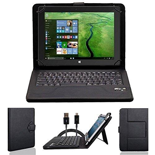 NAUC Tasche Hülle für ODYS Ieos Quad 10 Pro Schutzhülle Tablet Cover Case Bag Etui, Modellauswahl:Schwarz mit Bluetooth Tastatur