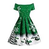 YWLINK Mode Off Shoulder Damen Retro Elegant Swing Kleid Weihnachten Schneeflocke Druck Cocktail Rock Eine Linie Weihnachten Schneeflocke(XXL,Grün)
