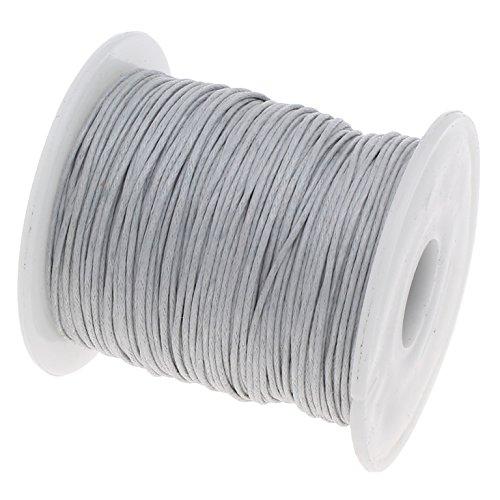 Perlin - 75 m Gewachste Baumwollekordel Grau Silber 1mm Gewachst Schmuck Schnüre Wachs Fäden ideal zur Schmuckherstellung C174 (Wachs, Faden Schwarz)