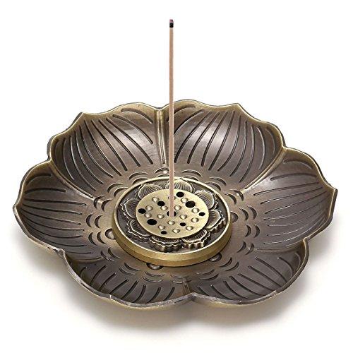 CrystalTears Vintage Messing Räuchergefäß Halter, Lotus Räucherstäbchen mit Brenner, Rückfluss Räuchergefäß, Ash Catcher Neun Loch Typ Design Lotus-Bronze - Ash Catcher