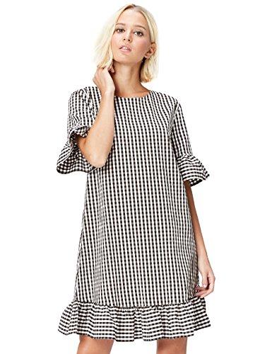 Rüschen Kleid (FIND Kleid Damen mit Vichy-Muster und Rüschen, Schwarz (Black), 44 (Herstellergröße: XX-Large))