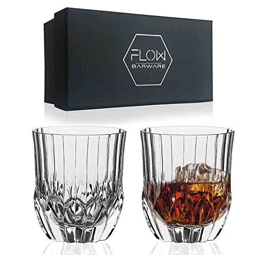 Crystal Whiskey Glasses Set Of 2, High Quality Crystal Glassware By FLOW Barware The Gatsby Perfect for Scotch, Bourbon Gin & Tonic, Cocktails and More
