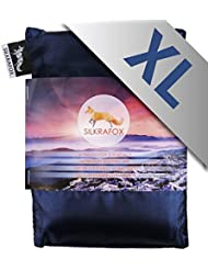 Silkrafox XL - Saco de dormir ultraligero para las excursiones de senderismo, ancho extragrande 95 cm, los viajes, las acampadas, seda artificial, azul