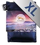 Silkrafox XL - sacco a pelo ultraleggero in seta artificiale, sacco lenzuolo, misura extralarge 95 cm, azzurro