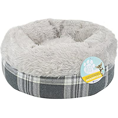 Me & My Super Soft Doughnut Pet Bed For Cats Puppies & Small Dogs - Grey Tartan