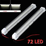 2x 12V 72 LED Car Interior White Strip Lights Bar Lamp...