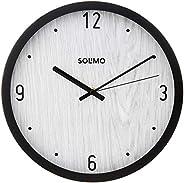 "Amazon Brand - Solimo 12"" Wall Clock - Classique Paneling (Silent Movement, Black F"