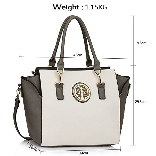 Damenhandtaschen Der Frauen Schulterbeutel Designer Neue Promi Stil Trage Groß (Lila Trage Bag1) Grau/Weiß 2