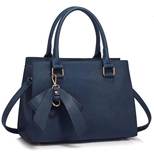 Leahward Damen Kunstleder Bow Charm Nice Great Handtaschen Tote Schultertaschen 374c 348 485 Marine Bogen Charme Taschen