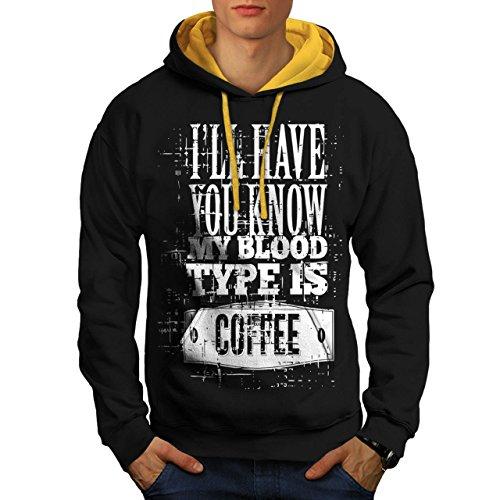 du-sang-type-est-cafe-drole-homme-nouveau-noir-avec-capuche-dore-xl-capuchon-contraste-wellcoda