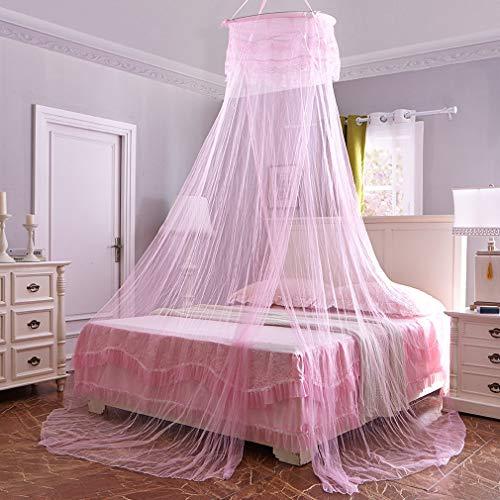 GLITZFAS Moskitonetz Fliegennetz Mückennetz Betthimmel Baldachin Rund Insektenschutz Doppelbetten Baby Kid Kinder Mosquito (Pink)