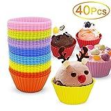 Silikon-Muffin-Form, Yica 40 Stück Cupcake Muffin-Silikon-Muffin-Form in 8 hellen Farben, Antihaft-, hitzebeständig Cupcake Infuser