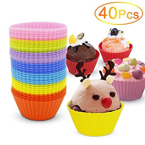 Silikon-Muffin-Form, Yica 40 Stück Cupcake Muffin-Silikon-Muffin-Form in 8 hellen Farben, Antihaft-, hitzebeständig Cupcake ()