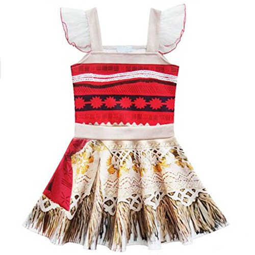 Princess Moana Ruffle Sleeve Costume Party Dress Up For Girls Toddler Kids Party Dress Up