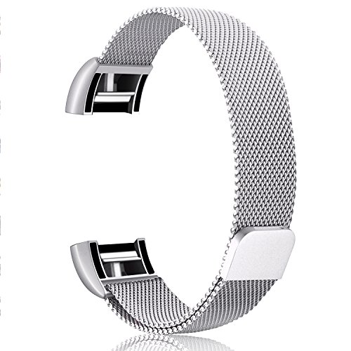 Hotodeal For Fitbit Charge 2 Strap Replacement Band Stainless Steel Milanese Loop Metal Wristband Accessories Bracelet with Strong Magnet Lock for Fitbit Charge 2 Sport Tracker Women Men Large Small