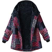Deloito Damen Winter Lose Baumwolle Warm Outwear Gedruckt Taschen Dicker Haspe Mantel mit Kapuze