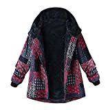 OverDose Damen Winterjacke Windbreaker Wärmemantel Plus Size Damen Kapuzen Causal Slim Soft Langarm Vintage Damen Fleece Dick Coats Zipper Coat(Rosa,EU-48/CN-2XL )