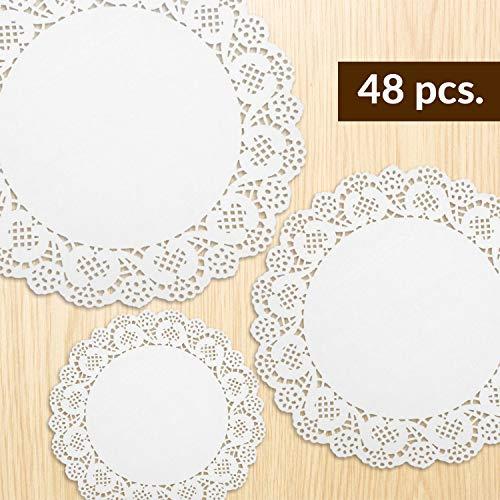 48 x Tapetes de papel Jaunty Partyware | Tapetes de papel blanco | Mantelería de papel de encaje