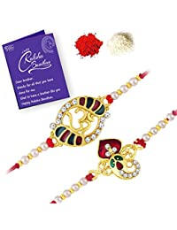 Sukkhi Stunning Gold Plated Ganesh and OM Rakhi Set Combo (Set of 2) with Roli Chawal and Raksha Bandhan Greeting Card for Men