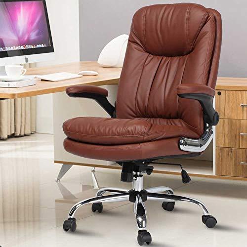 Sedia poltrona presidenziale da scrivania per ufficio casa studio con braccioli reclinabili altezza regolabile diversi colori in eco pelle (camel-marrone)