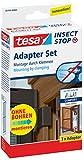 tesa® Insect Stop Fliegengitter ALU Comfort Adapter-Set für Insektenschutztüren aus Aluminium (Braun / 3er Pack)
