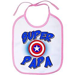 Babero Súper Papá Capitán América - Rosa