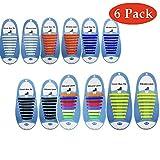 Yorgewd 6 Pack No Tie Laces Elastische, silikonfreie Schnürsenkel für Kinder und Erwachsene, sportliche Schnürsenkel mit Multicolor für Trainer und Turnschuhe sowie Freizeitschuhe