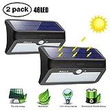 Solarleuchten für Außen, ARILUX Solarlampe mit Bewegungssensor Solar Wandleuchte Außenleuchte (3 Modi 46 LEDs IP65 Wassedichte Kabellose) für Garten, Wände, Patio, Deck, Hof, Veranda, Flur, Auffahrt Innenhof -2 Pack