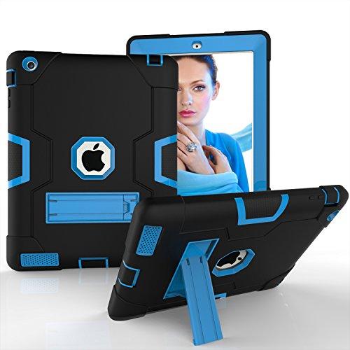 iflying [Standfuß] Heavy Rugged Fullbody stoßfest Rutschfeste stoßabsorbierenden Hybrid Dual Layer Hard Soft Silikon Schutzhülle für Apple iPad 2/3/4(24,6cm) Schwarz/Blau ()