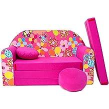 WELOX 4251064702201 KindersofaBettfunktion3in1-Kindersessel,Ausziehbett,rosaBlumen, Eierschalenfarbe