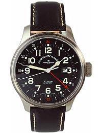 Zeno Watch Basel Pilot Oversized 8563-a1 - Reloj de caballero automático, correa de piel color negro